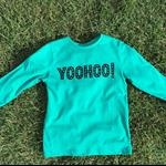 YOOHOO! hand screen printed tee - green long sleeve / black print - size 5